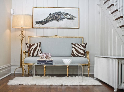 Alligator illustration over settee
