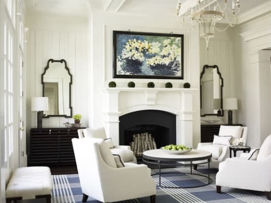 black and white room with blue