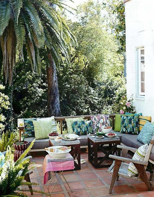 Colorful outdoor porch