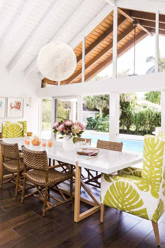 Tropical Dining Palm Leaves Eclectic Style Outdoor Entertaining Nandina Home Design
