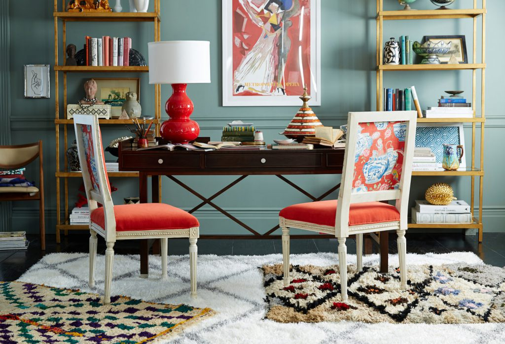 eclectic-home-home-office-traditional-chairs-gold-etagere-layered-rugs