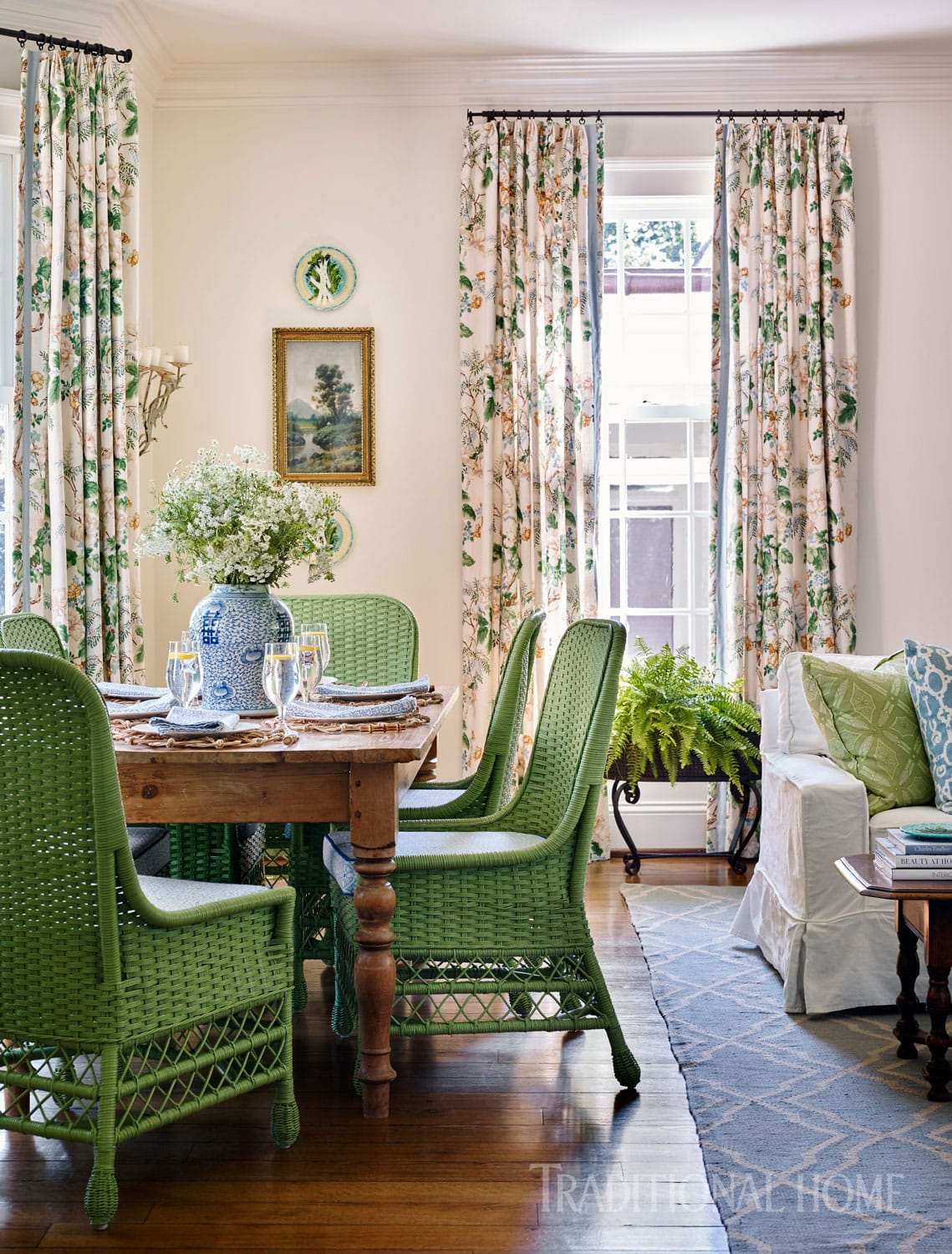 Green Dining Chairs Wicker Traditional Home Design Country Style