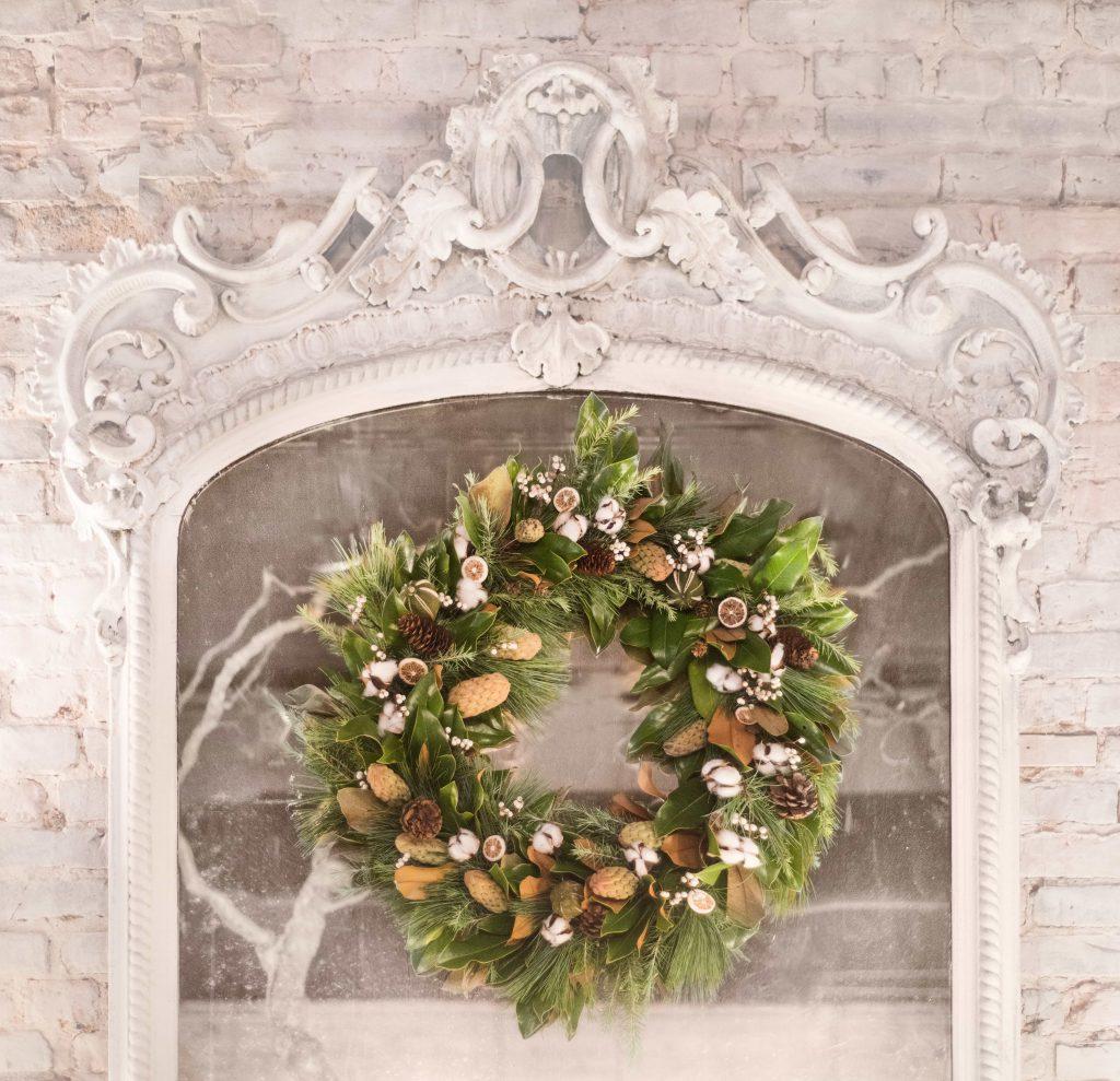 pine wreath holiday decor