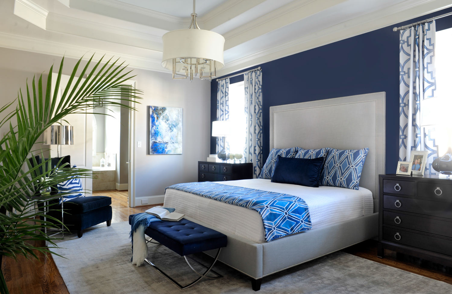 Stylish Casual Bedroom designed by Susan Victor of Nandina Home and Design