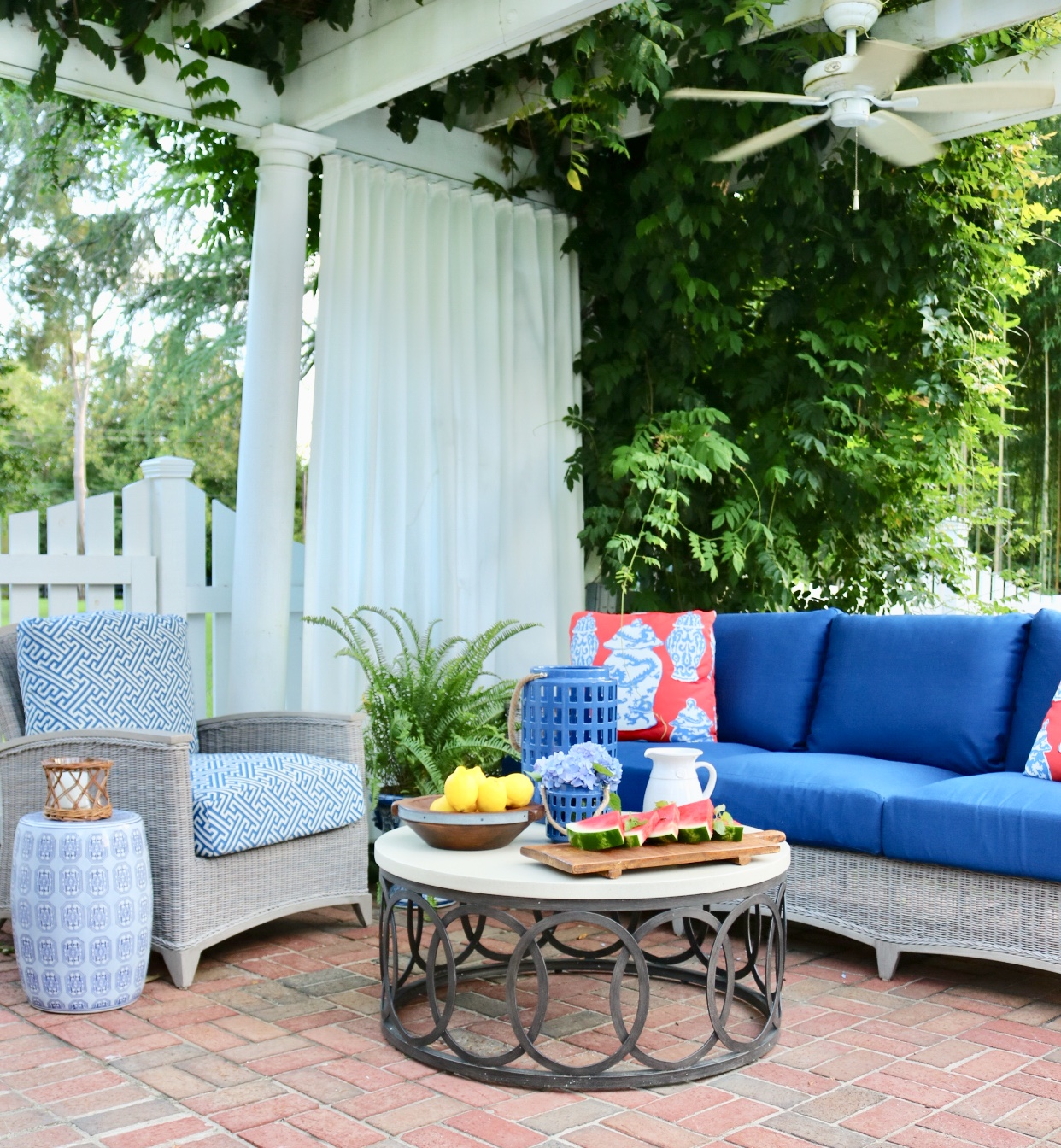 Blue Outdoor Living Room designed by Susan Victor of Nandina Home and Design