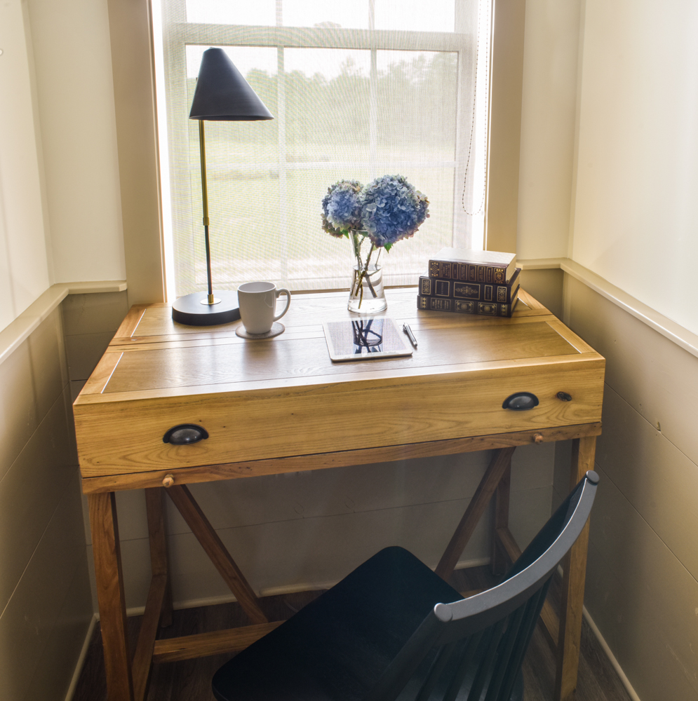 A desk space at Stableview designed by Aiken interior designers Sue Shannon and Susan Victor of Nandina Home and Design