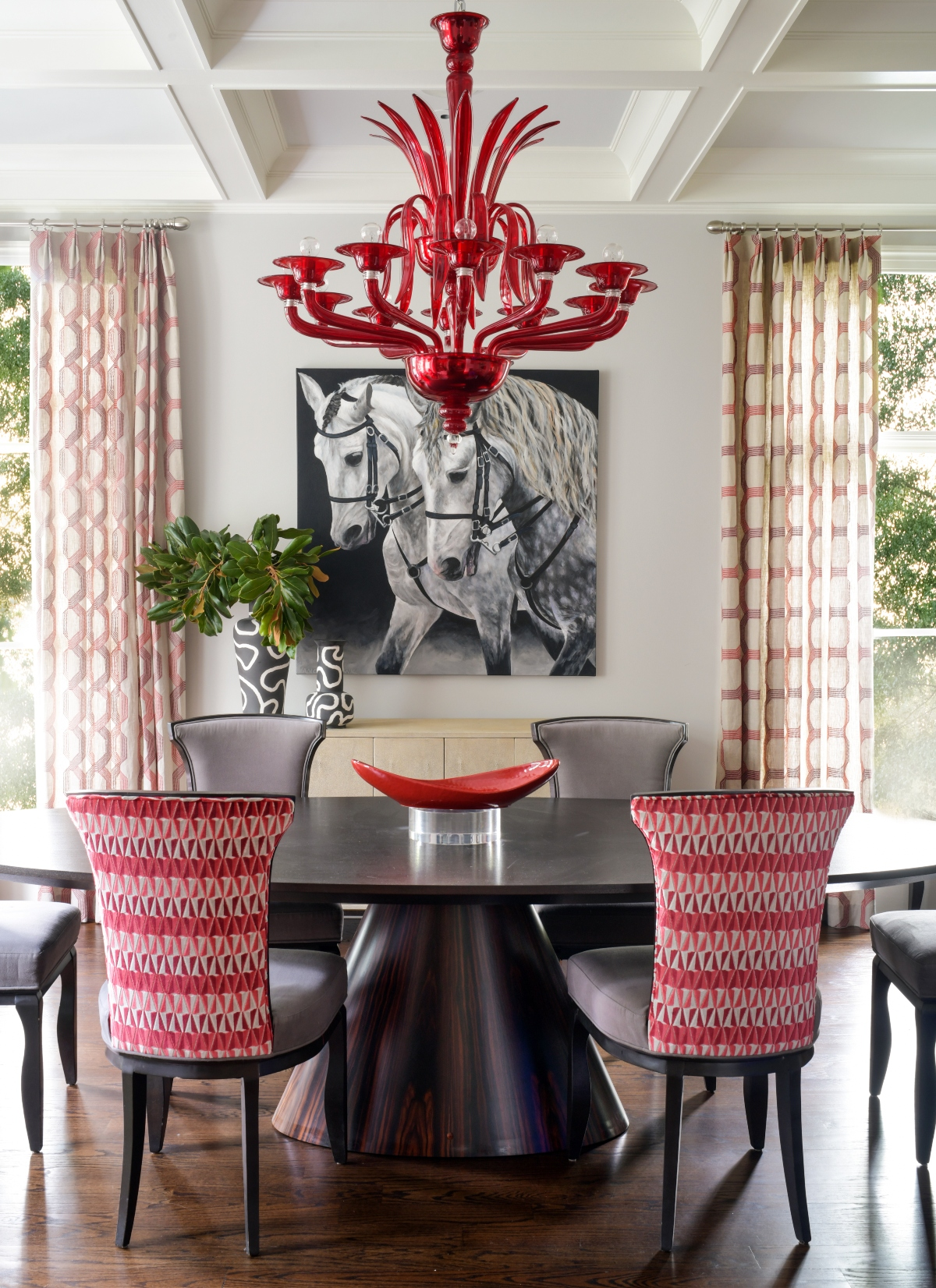 Red Dining Room Designed by John Ishmael of Nandina Home & Design