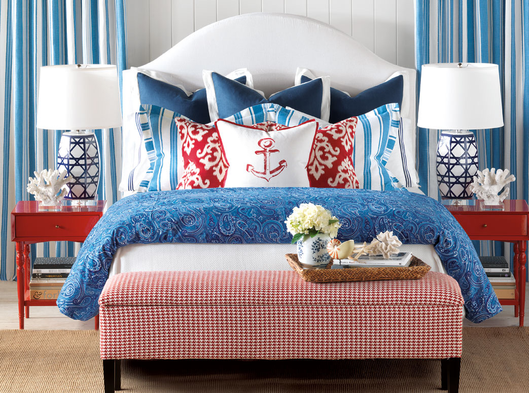 Red White and Blue Bedroom Designed by Barclay Butera