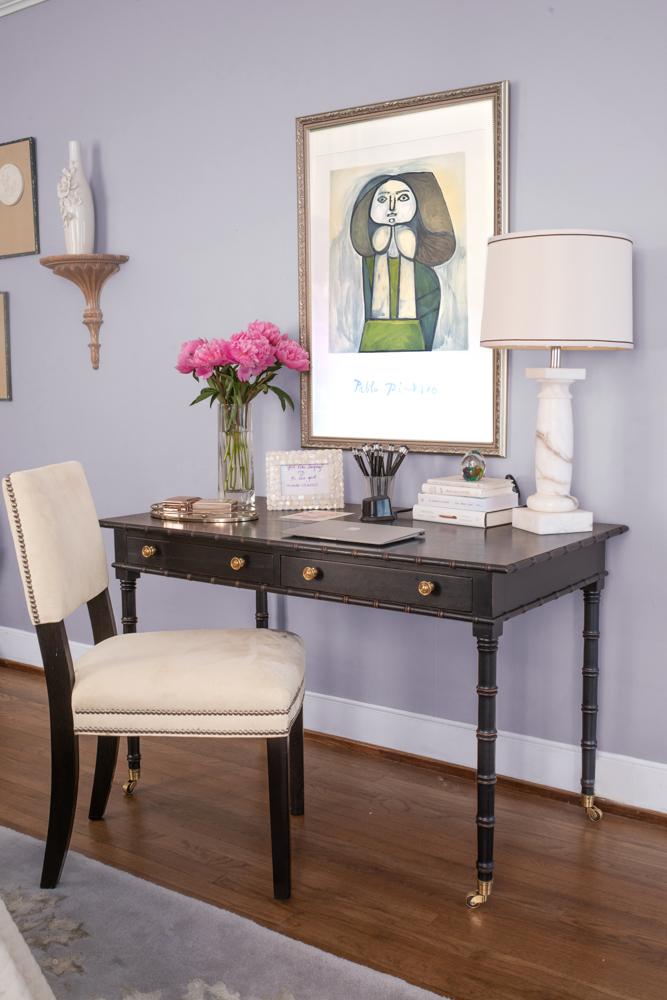 Home office and desk designed by Aiken interior designer Susan Victor of Nandina Home and Design