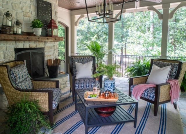 Porch space designed by Sue Shannon of Nandina Home - Aiken