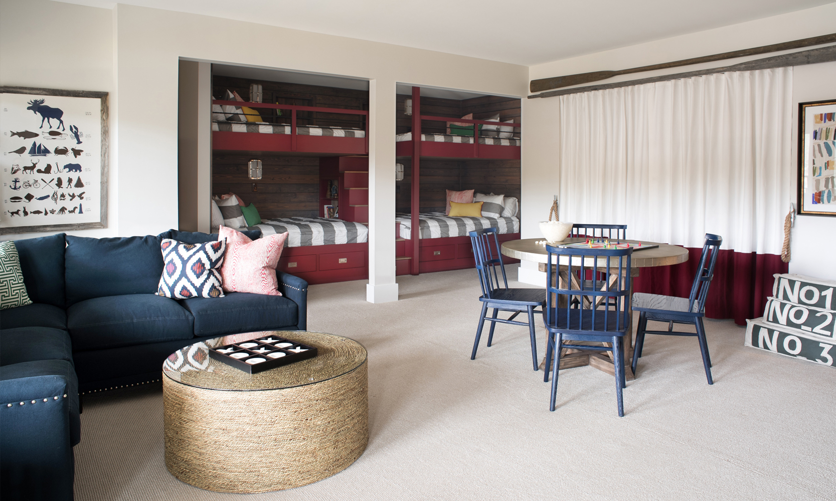 Red White and Blue Family Room Designed by Michele Merritt of Nandina Home and Design