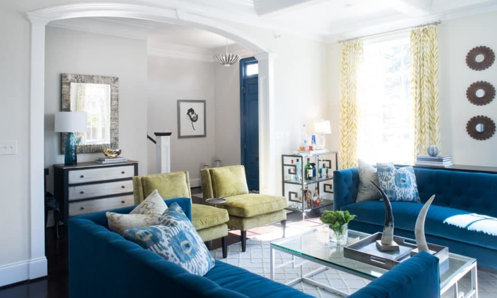 Transitional Living Room Blue Sofa Bar Cart Coffered Ceiling Double Sofas Yellow Accents 1024x614